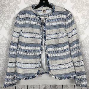 Anne Klein Blue Tweed Knit Jacket Blazer